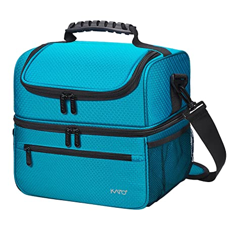d4ad98fc3417 Extra Large Lunch Bag - 13L/ 20 Can, Insulated & Leakproof Adult Reusable  Meal Prep Bento Box Cooler Tote for Men & Women with Dual Compartment, Blue