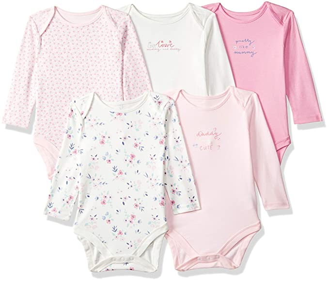 d00836539b Mothercare Baby Girls Girl Long Sleeve 5 Pack Long Sleeve Mummy   Daddy Bodysuits  Bodysuit