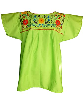 9267991501ae7 Women s Puebla Mexican Blouse - Lime Green at Amazon Women s ...