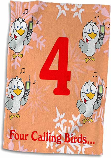 3d Rose 12 Days Of Christmas Four Calling Birds Towel 15 X 22 Home Kitchen