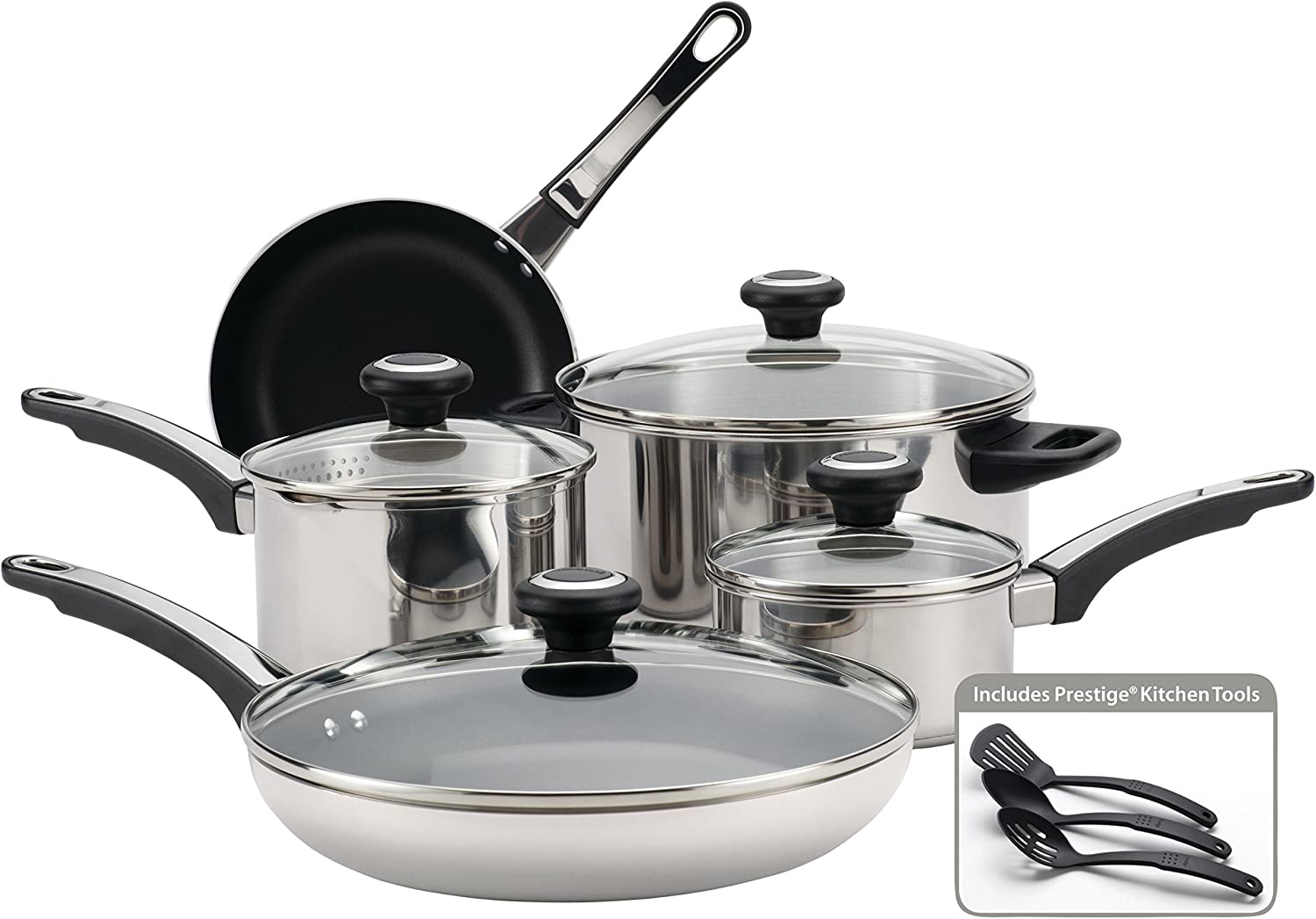Farberware High Performance Stainless Steel Cookware Pots and Pans Set, 12 Piece