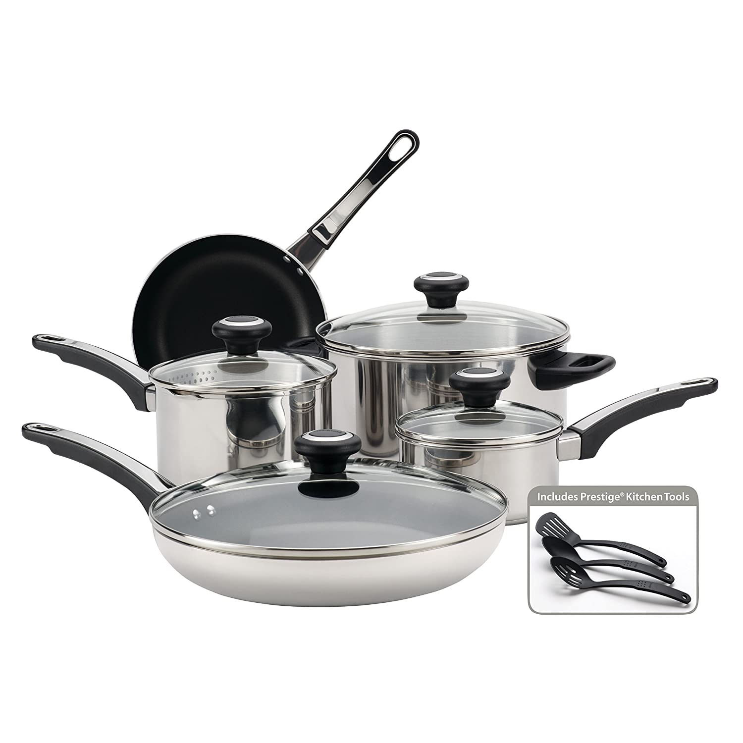 Farberware 77299 High Performance Stainless Steel Cookware Set, 12 Piece, Silver