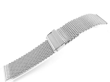22 mm Edelstahl Armbanduhr Mesh Armband Armband 1,0 mm Draht Silber ...