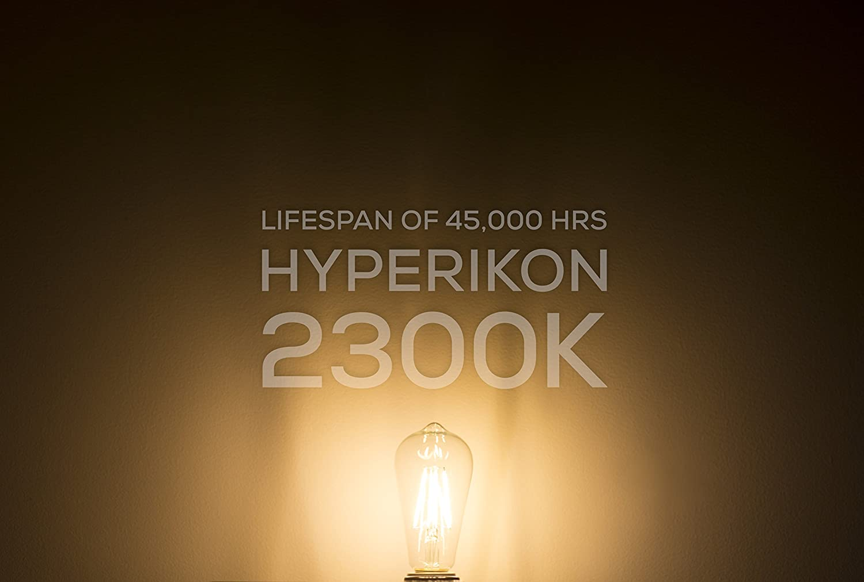 Hyperikon 5w Dimmable St64 Led Vintage Filament Bulb 500 Lumen Wiring Diagram 2300k E26 Base Ul Pack Of 6
