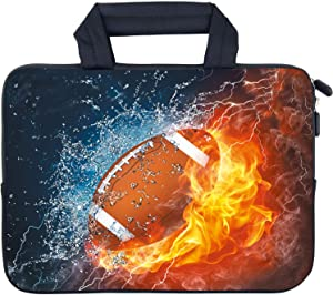 AMARY14 15 15.4 15.6 inch Laptop Handle Bag Computer Protect Case Pouch Holder Notebook Sleeve Neoprene Cover Soft Carrying Travel Case for Dell Lenovo Toshiba HP Chromebook ASUS Acer (Football)