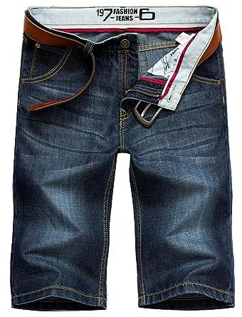 1a04377af5ab Cystyle Herren Jeans Shorts Sommer Kurze Hose Dunkelblau Ohne Guertel (28W)