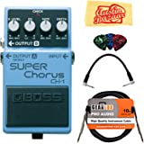 Boss CH-1 Super Chorus Bundle with Instrument Cable, Patch Cable, Picks, and Austin Bazaar Polishing Cloth