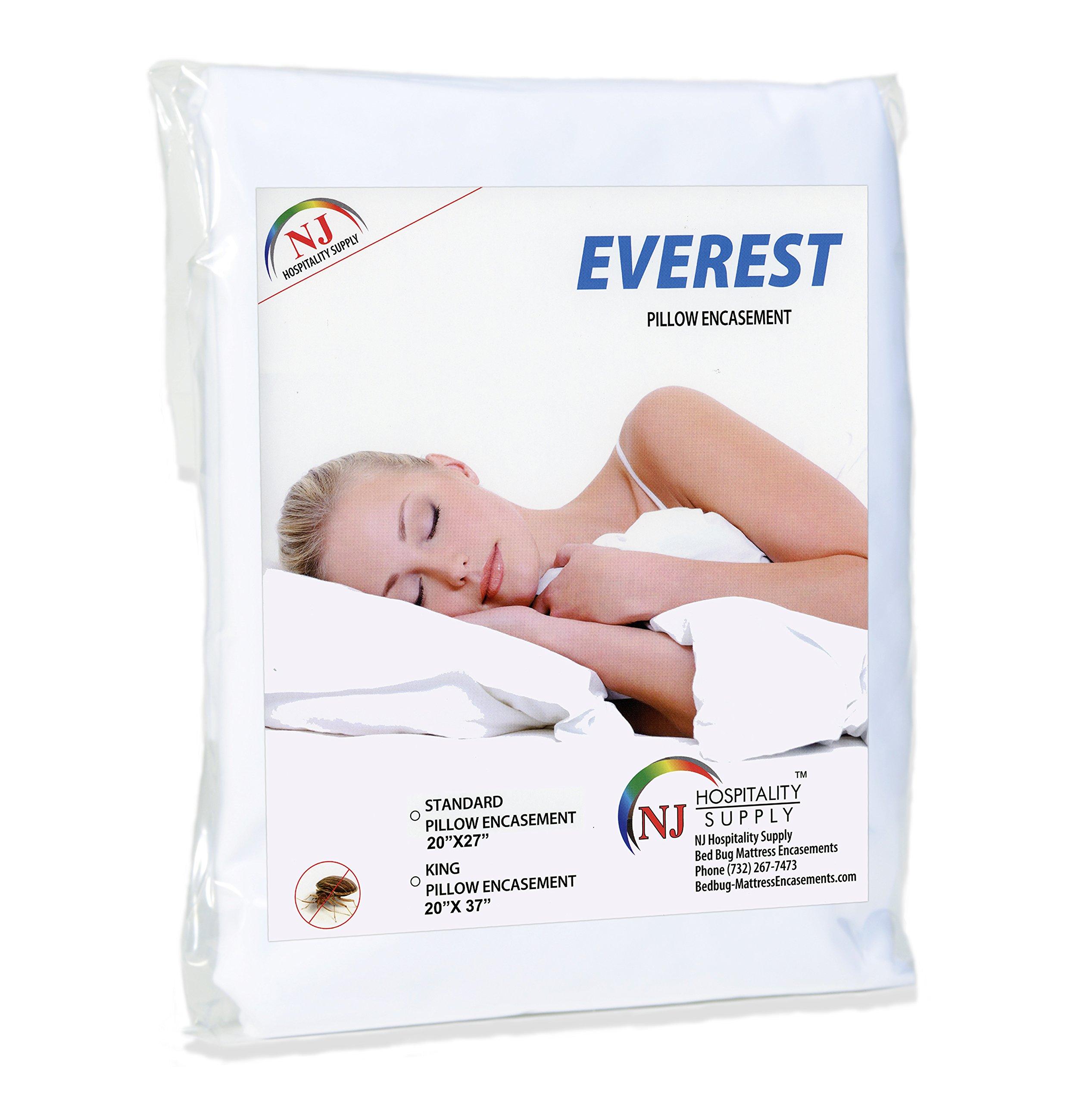 Everest Premium Plus Pillow Protector Encasement 100% Water Proof Hypoallergenic Bedbug Proof Dustmite Proof Machine Washable Superior Comfort (Pack of 6, Queen (21''x31''))