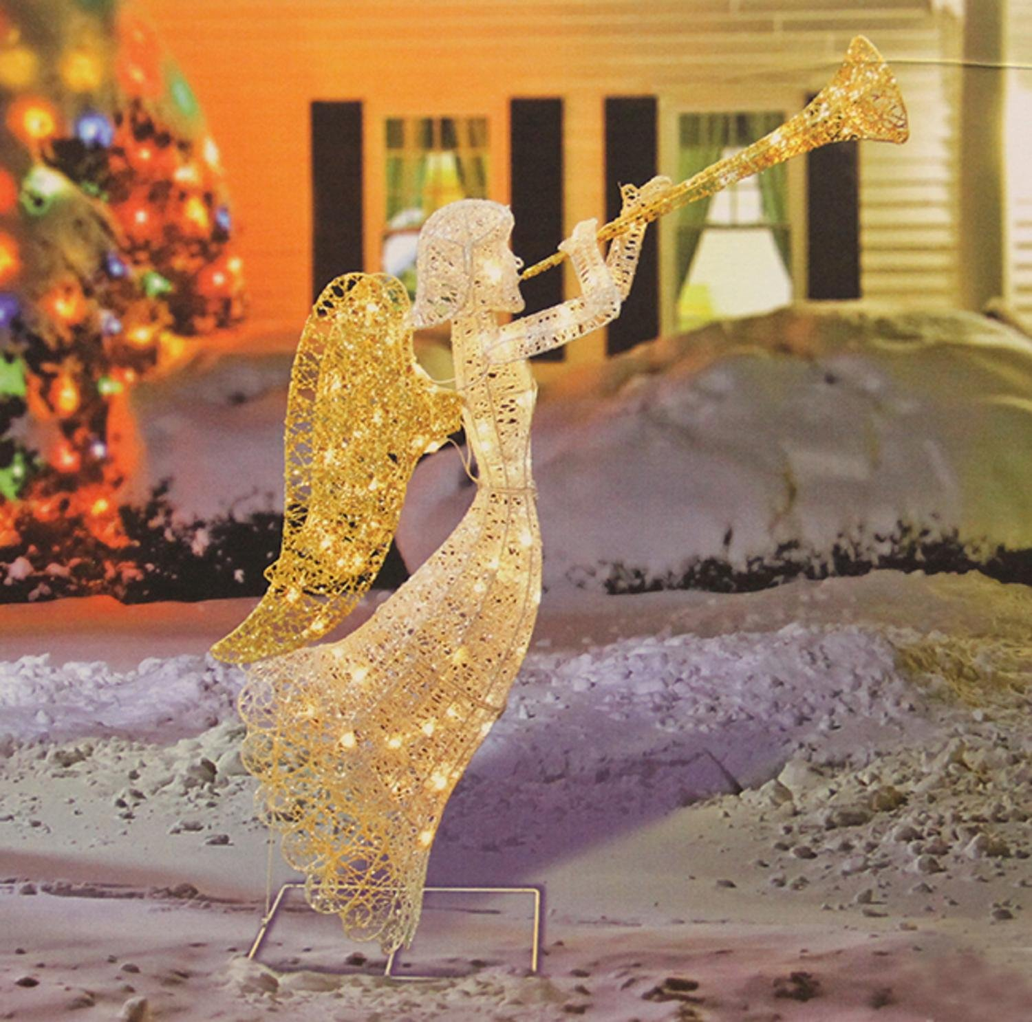 amazoncom penn 58 397w 066 48 glittered trumpeting angel lighted christmas yard art decoration home kitchen - Lighted Christmas Angel Yard Decor