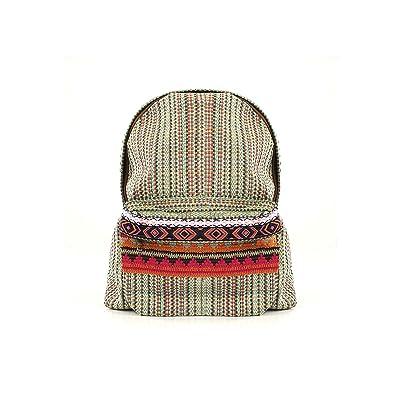 For Time étnica de Chica, Mochila mujer casual hippie Inca para Verde, 37x39x13 cm: Zapatos y complementos