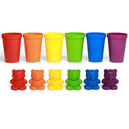72 Rainbow Colored Counting Bears With Cups For Children Montessori Toddler Learning Toys Colorful