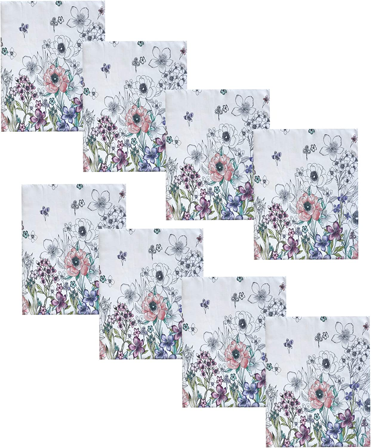 Newbridge Shabby Chic Garden Breeze Easter and Spring Fabric Napkins - Sweet Pastel Colored Floral Border Print Easy Care, Stain Resistant Fabric Napkins, Set of 8 Napkins