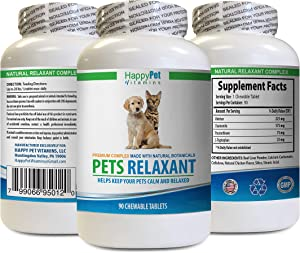 cat Stress Stopper - PET Relaxant - Made for Dogs and Cats - Natural Anxiety and Stress Relief - Mood Boost - Best Formula - tryptophan cat Food - 1 Bottle (90 Treats)