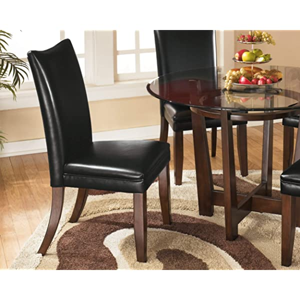 Ashley Furniture Signature Design - Charrell Dining Upholstered Side Chair - Curved Back - Set of 2 - Black