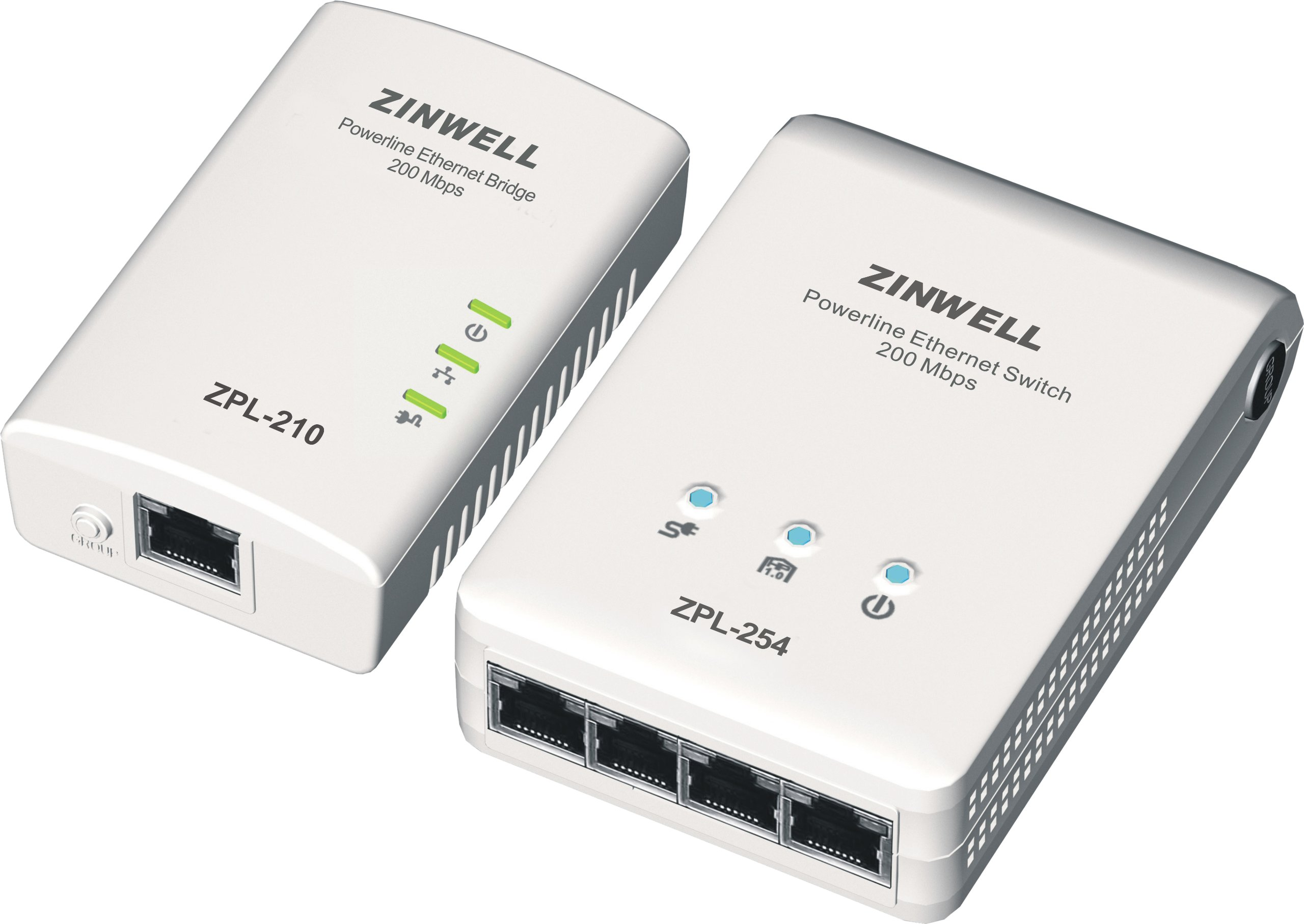 Zinwell 200 Mbps Digital Home Powerline Ethernet Adapters 1-Port Bridge and 4-Port Switch