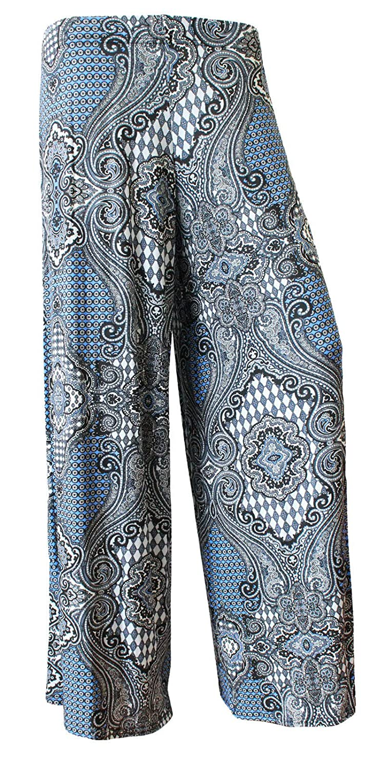 Funky Fashion Shop Ladies Floral Paisley Printed Wide Leg Palazzo Trousers Pants Plus Size 8-22