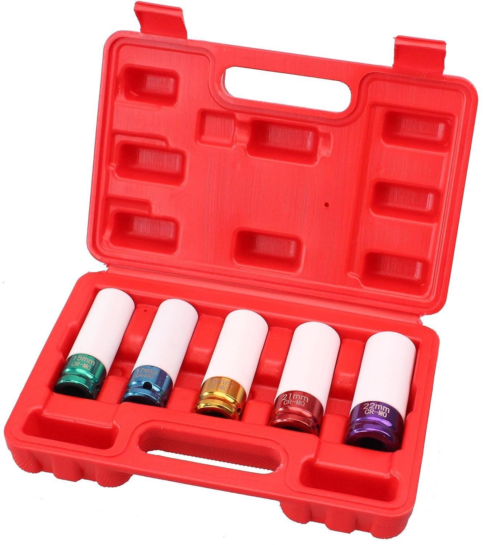 CARTMAN Cr-Mo 5 Sockets 1//2 Drive Impact Socket Set with Protective Sleeves