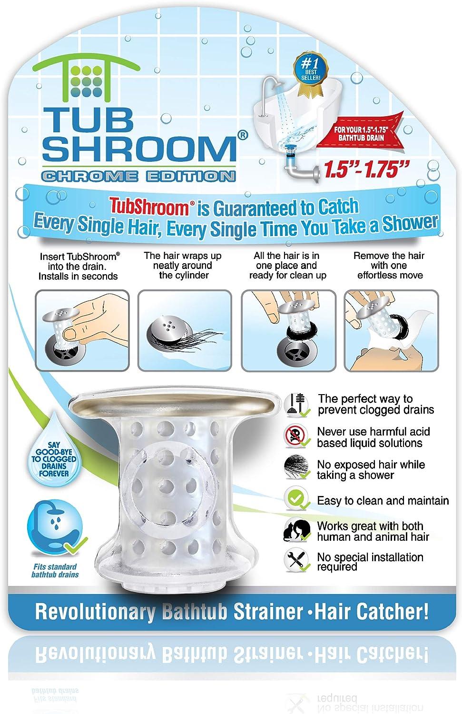 TubShroom Revolutionary Tub Drain Protector Hair Catcher Snare Standard Black Chrome Strainer Silicone