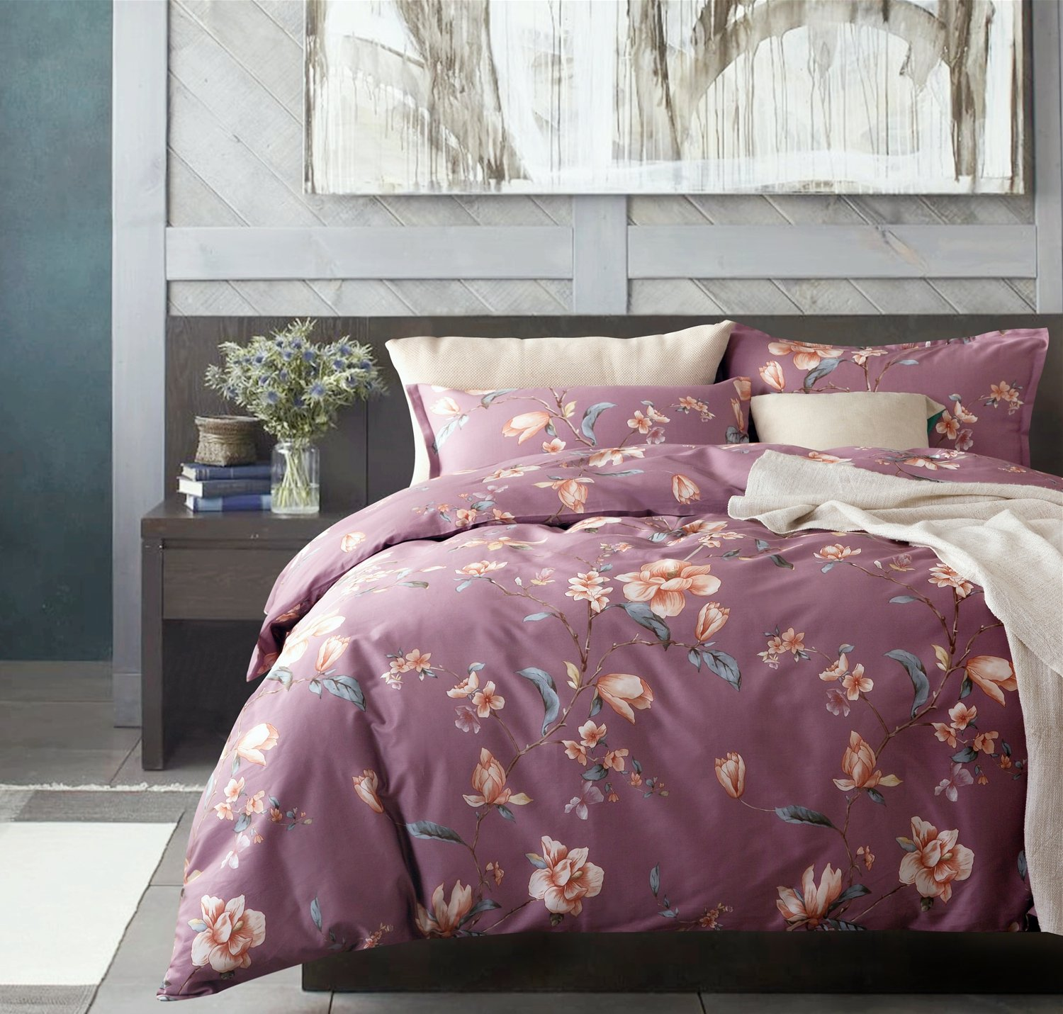 Modern Watercolor Flowers Print Duvet Quilt Cover 3pc Set Lilac Orchid Magnolia Blossom Leaf Branches Cotton Sateen