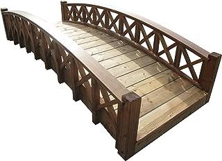 product image for SamsGazebos Swan Wood Garden Bridge with Cross Halved Lattice Railings, 8', Brown