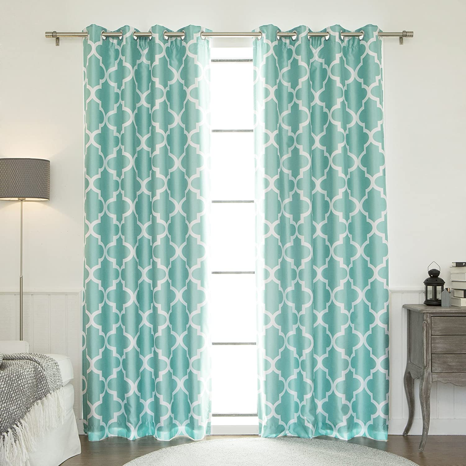 """Best Home Fashion Moroccan Faux Silk Blackout Curtain - Stainless Steel Nickel Grommet Top - Sky Blue - 52"""" W X 84"""" L - (1 Panel)"""