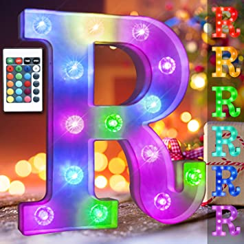 16 Color Changing Marquee Letter with Lights, Battery Power Light up Letters for Wall Remote Control Diamond Bulb Words Light Bar Signs for Table, Desk, Girl Bedroom Decor- RGB Letter R