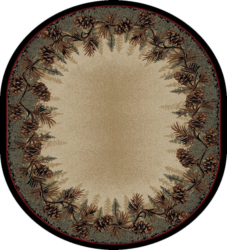 """Mayberry Rugs Rustic Lodge Mount Le Conte Area Rug, 7'10"""" x 9'10"""" Oval"""