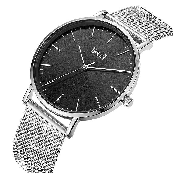 BOLISI Relojes para mujer para hombre Reloj de pulsera de vestir de cuarzo analógico clásico ultrafino