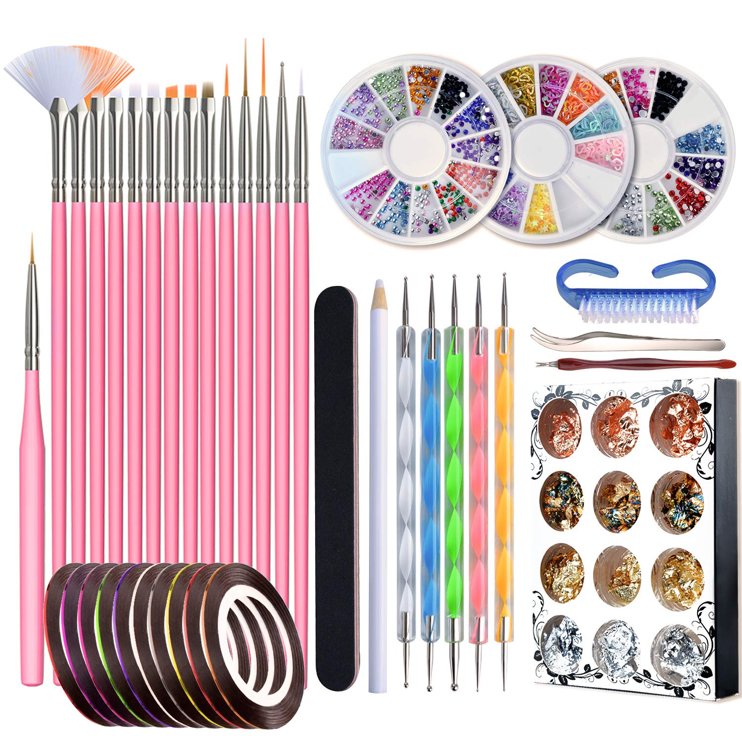 Nail Art Kit, 50pcs Nail Design Tools with 15pcs Nail Art Brushes, Nail Dotting Tool, Nail Foil, Nail Striping Tapes and Rhinestones Crystals