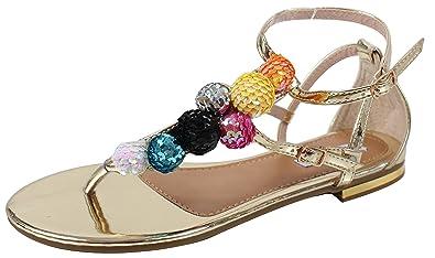 fa2cf658ff2 CAPE ROBBIN Women s Open Toe Sequin Strappy Flat Sandal (Gold