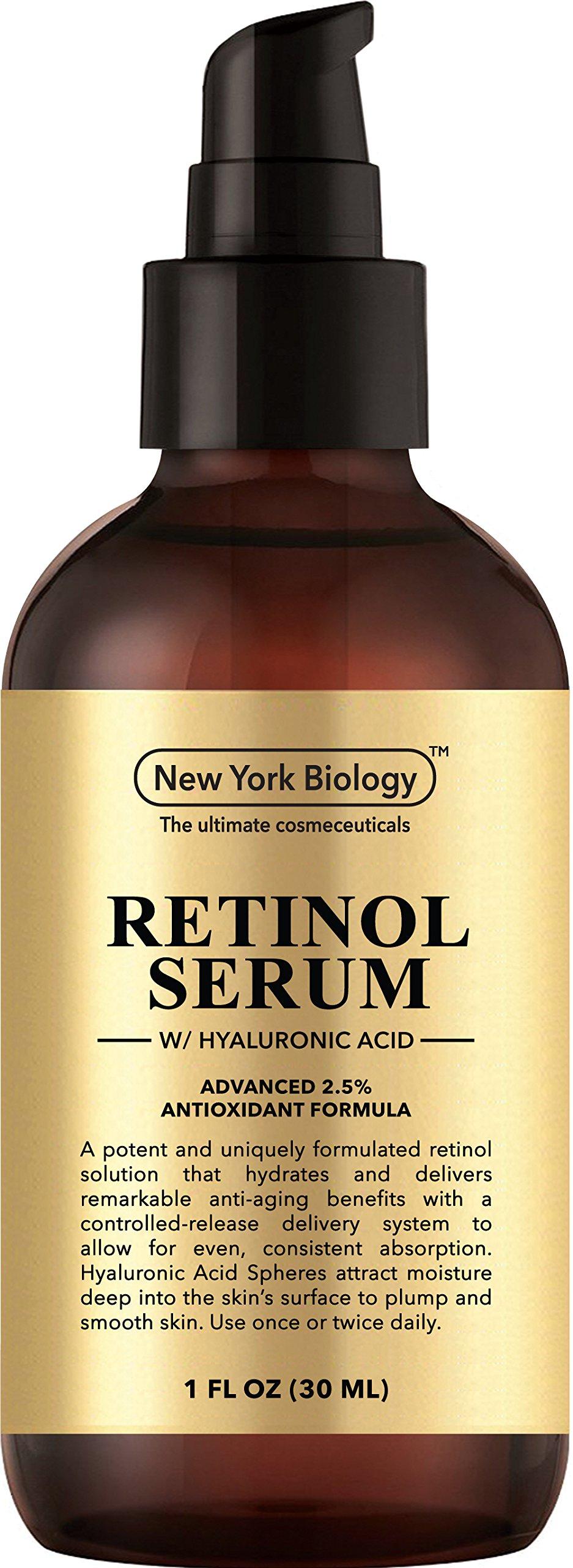 Super Retinol Serum 2.5% w/Hyaluronic Acid – Professional Grade – Anti Aging Face Serum For Wrinkles, Fine Lines And Hyperpigmentation – 6X Stronger than Retinol Cream Moisturizers - 1 FL OZ