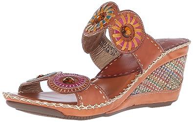 L'artiste by Spring Step Women's Taffy Wedge Sandal, Camel Multi, 39 EU