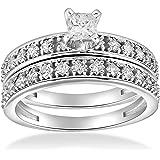 1 cttw Princess Cut Diamond Engagement Wedding Ring Set 10k White Gold