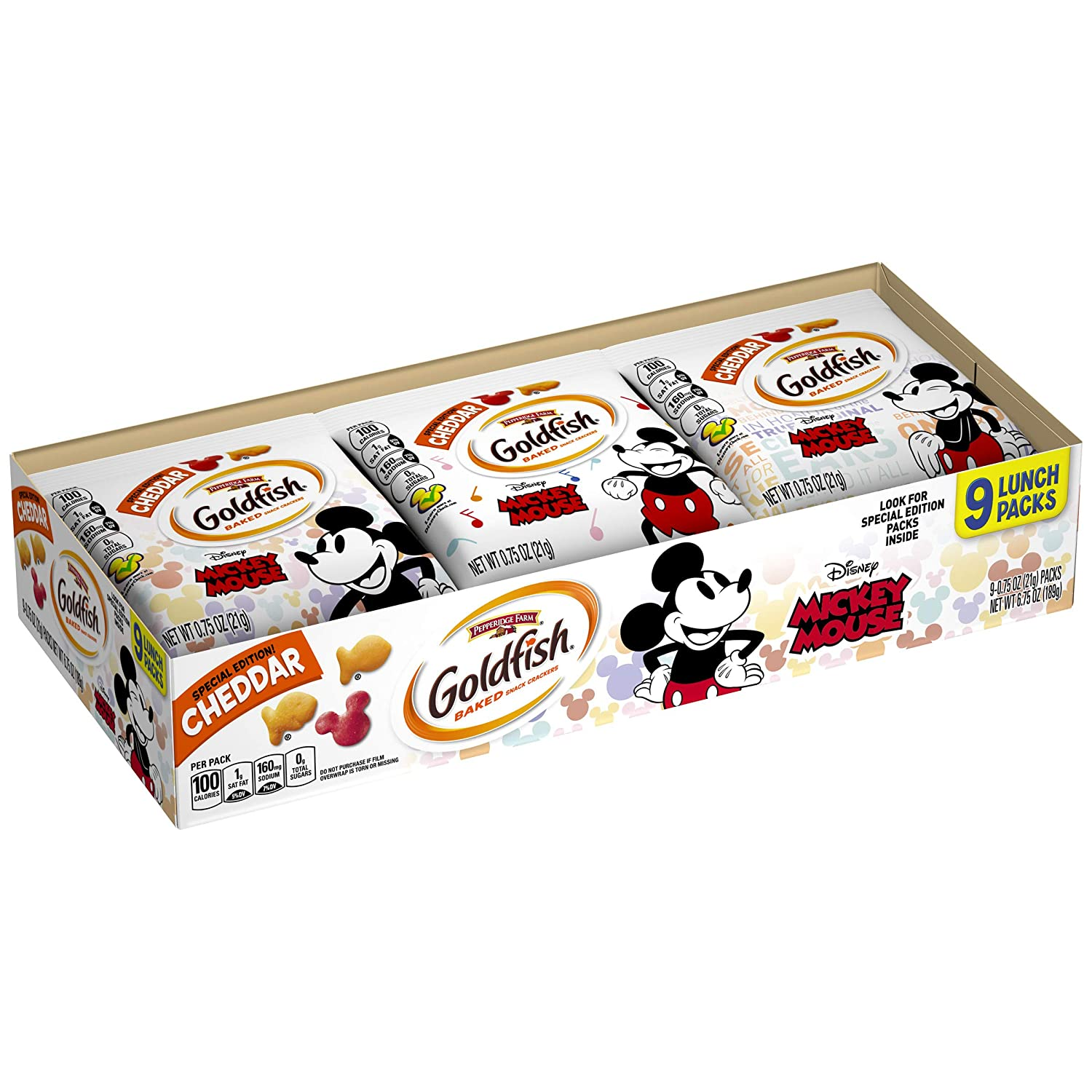 Pepperidge Farm Goldfish Special Edition Crackers with Disney's Mickey Mouse,9-count Tray