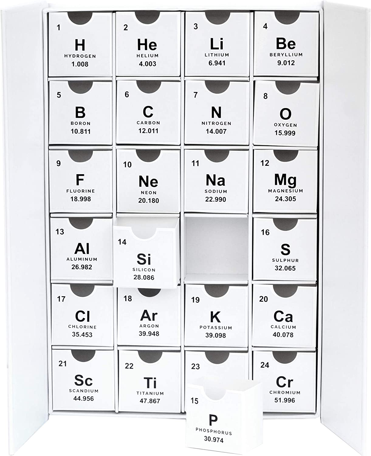 Nerdy Words Chemistry Periodic Table Fill-Your-Own Cardboard Advent Calendar Box