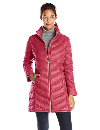 Calvin Klein Women's Chevron-Quilted Packable Down Coat at Amazon ...