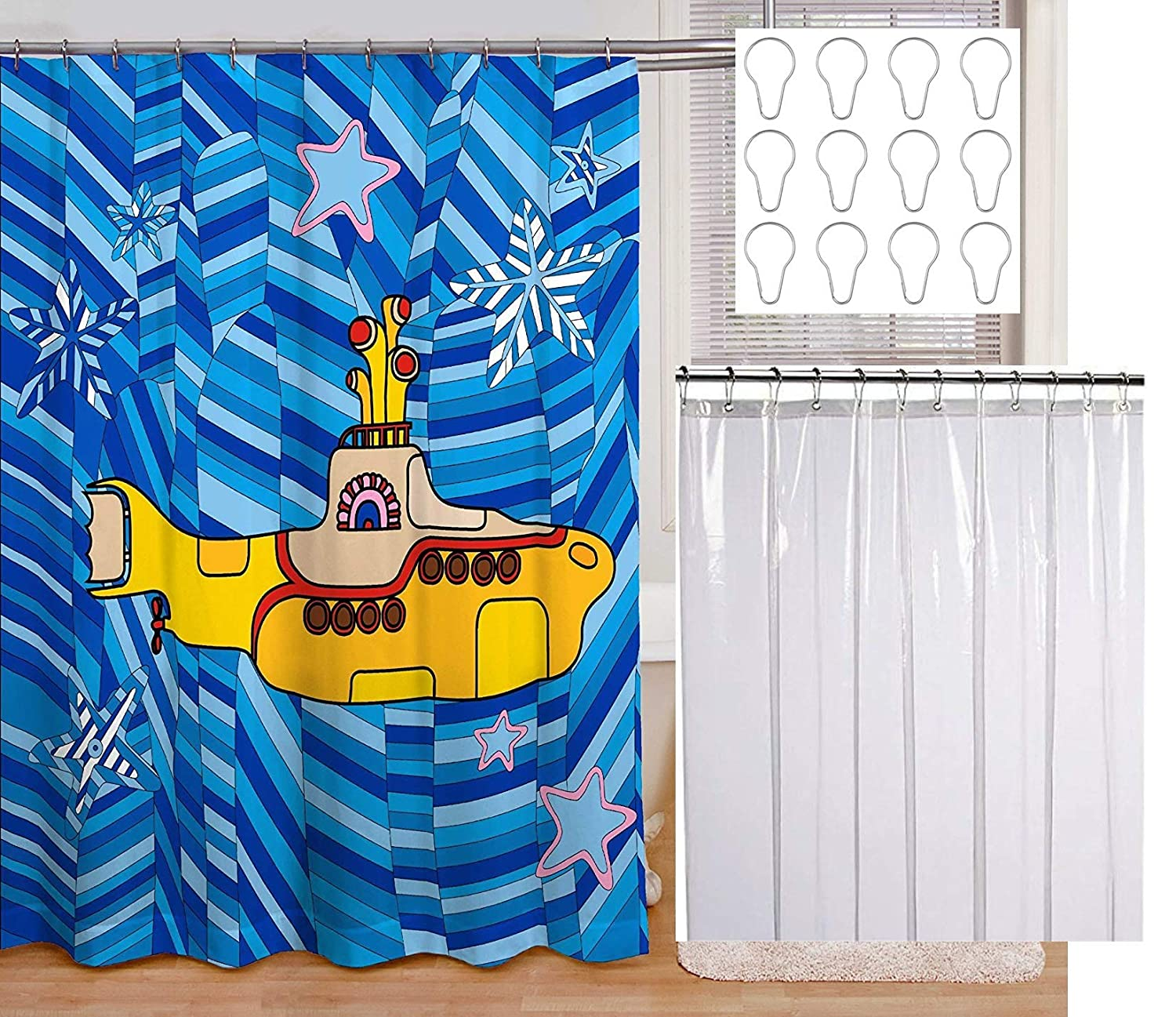 My Posh Home Beatles Yellow Submarine Blue Shower Curtain Set with Waterproof Liner and 12 Metal Rings