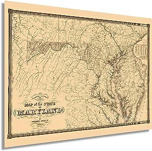 Historix Vintage 1841 Maryland State Map - 18x24 Inch Vintage Map of the State of Maryland Wall Art - Vintage Maryland Home Decor Poster Print - Showing Virginia Washington DC Chesapeake Bay (2 Sizes)