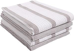 KAF Home Pantry Sutter Waffle Herringbone Stripe and Waffle Flat Kitchen Dish Towel Set of 4, 100-Percent Cotton, 18 x 28-Inch (Gray)