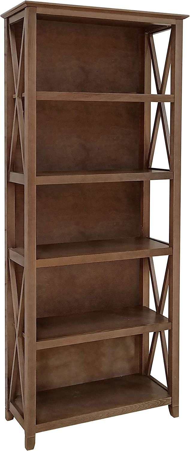 "Amazon Brand – Stone & Beam 5-Shelf Bookcase, 75""H, Weathered Oak Finish"