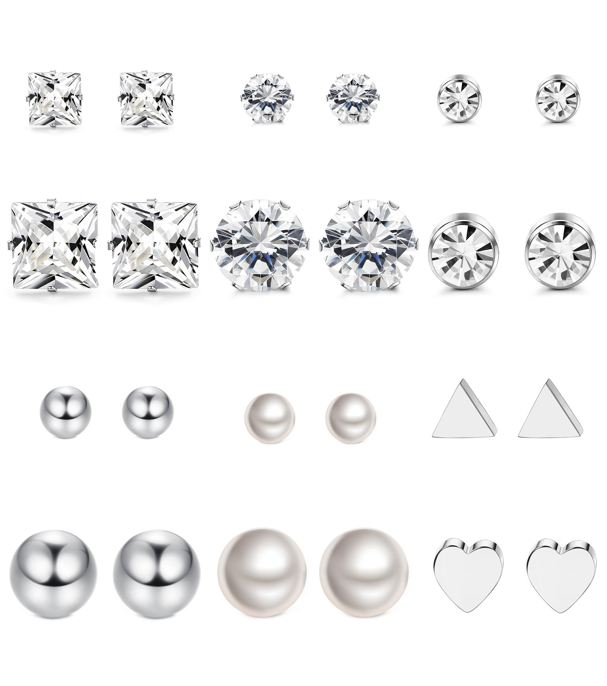 Thunaraz 12Pairs Surgical Steel Stud Earring Set Fake Pearl Earring Ball Triangle Heart CZ Earring Kit