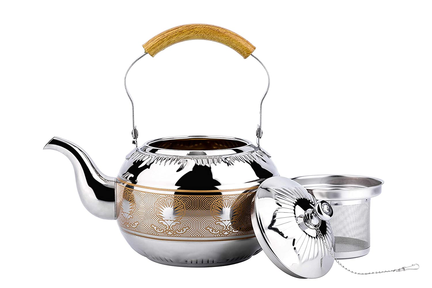 OMGard Whistling Tea Kettle with Infuser Loose Leaf Stainless Steel Teapot