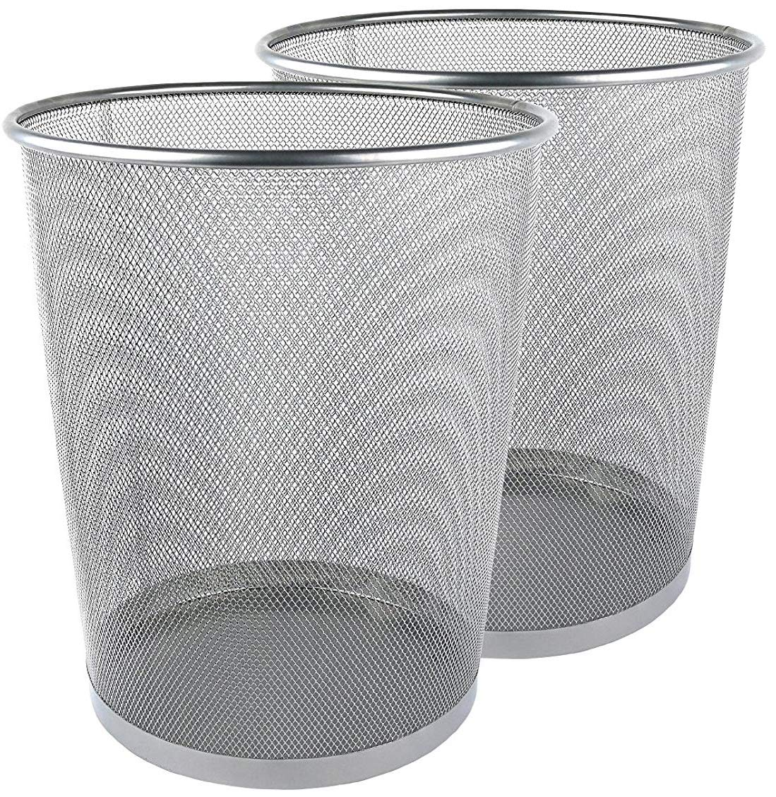 Greenco GRC2593 Mesh Wastebasket Trash Can, 6 Gallon, Silver, 2 Pack