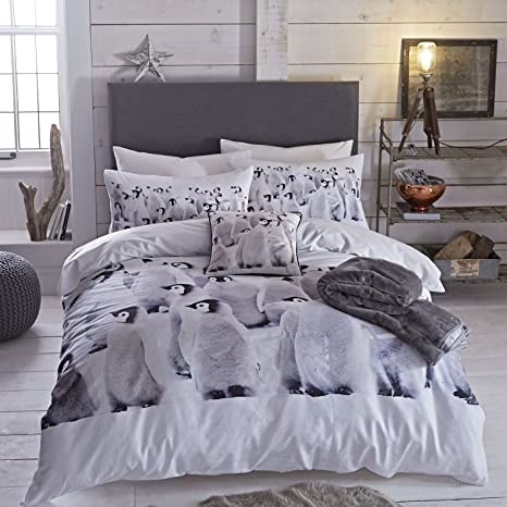 PENGUIN COLONY ANIMAL  DUVET QUILT COVER BED SET WITH PILLOWCASE GC