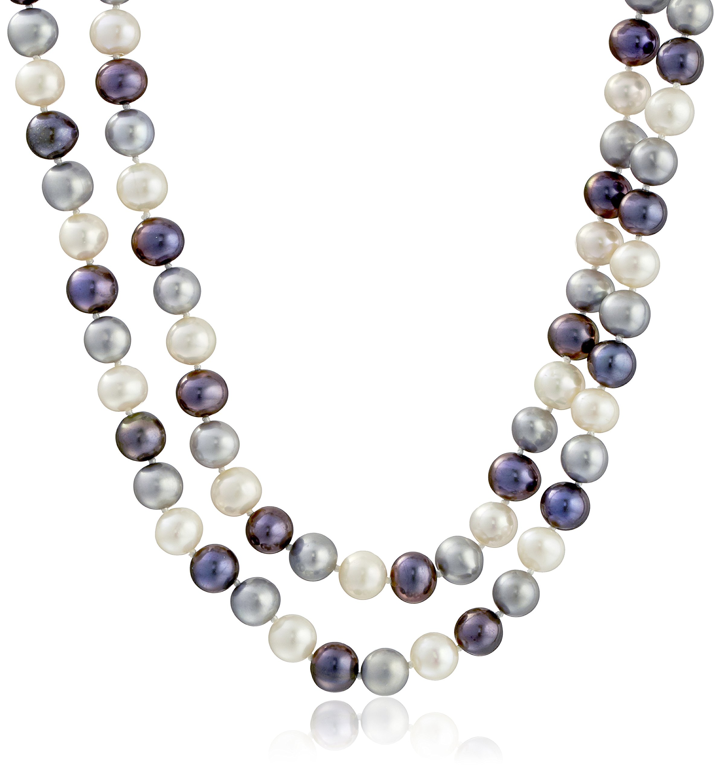 Sterling Silver Two-rows 8-8.5mm Multi-dark Genuine Cultured Freshwater High Luster Pearl Strand, 18''