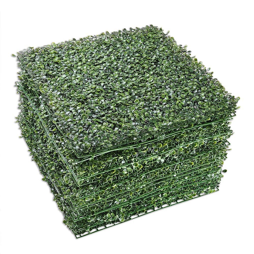 Yescom 12-Pack 20''x20'' Artificial Boxwood Hedge Mat with Cable Ties UV Privacy Fence Screen Greenery Panel Outdoor Decor