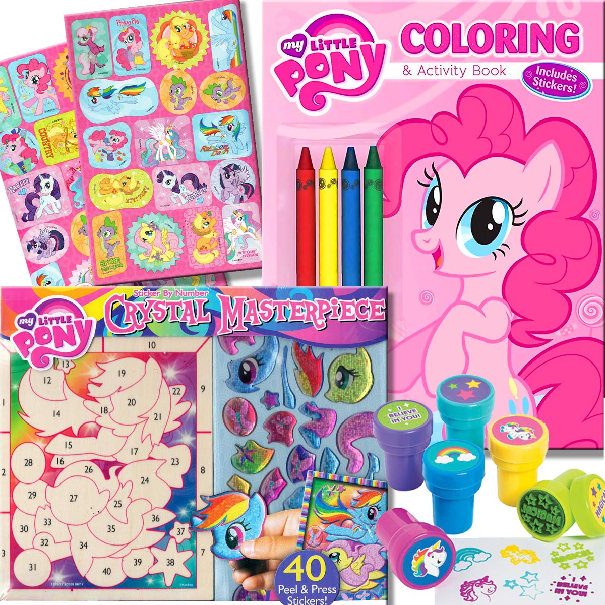 My Little Pony Coloring Book With Crystal Masterpiece Set 32 Page Coloring Book My Little Pony Stickers Crayons And Stampers