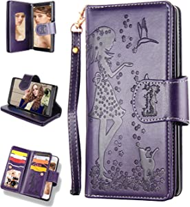 FLYEE Samsung S9 Plus Case,Galaxy S9 Plus Wallet Case, 9 Card Slot PU Leather Magnetic Protective Cover with Mirror and Wrist Strap for Samsung Galaxy S9 Plus 6.2 inch Nine Card-Purple