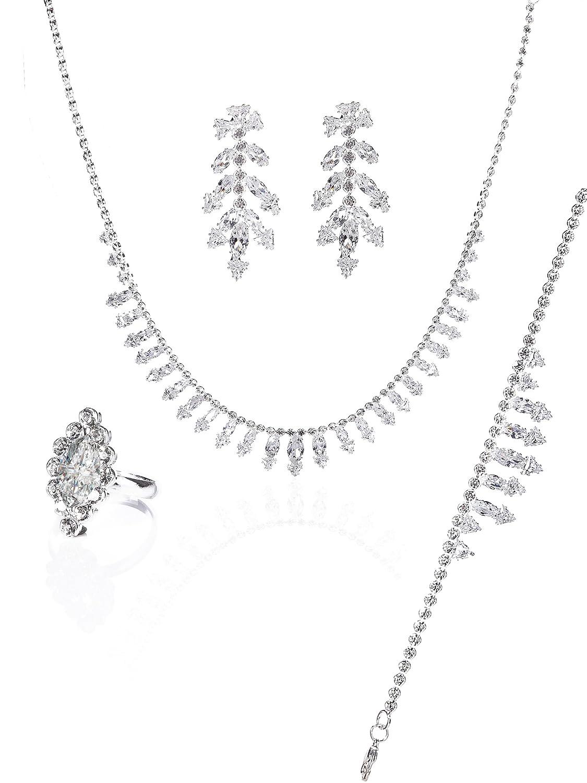 MOOCHI Silver Plated Clear AAA Cubic Zircon Crystal Necklace Jewellery Set  Wedding Bride