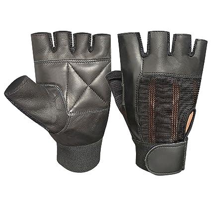 PRIME guantes de piel para musculación de piel acolchada - para entrenamiento FITNESS y silla de